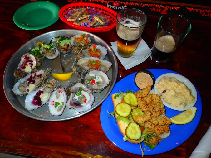 Around the World Oyster Sampler and carft beer from Hurricane Oyster Bar