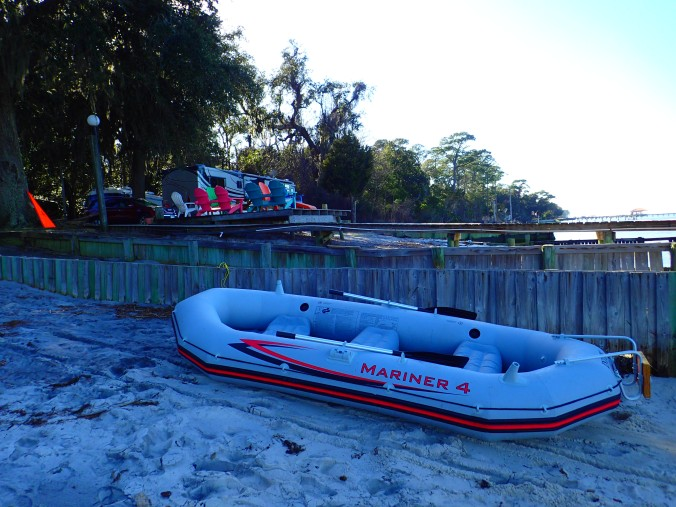 The Coconut, sans motor and battery, on the boat ramp at Bay Breeze.