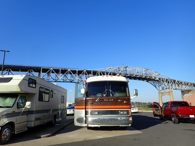 Casino parking spot, I-10 Bridge overhead and neighboring RVs cozy close.