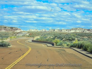 Blue skies, on a downhill and crossing into Arizona: what could be better?