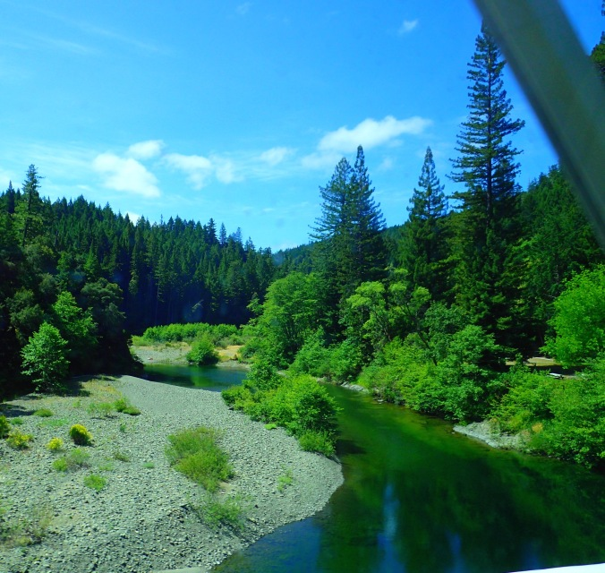 Crossing Smith River before entering Jedediah Smith Campground