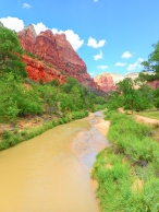 Red rocks Zion and river