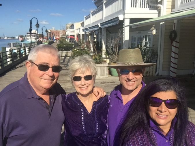 The Purple Contingent out on the Wilmington Riverwalk.